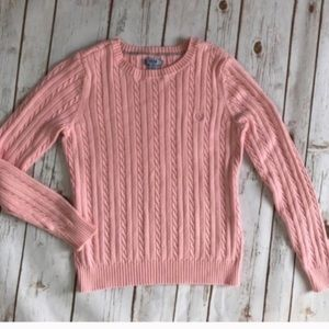Izod Deep Pink Cable Knit pullover logo sweater